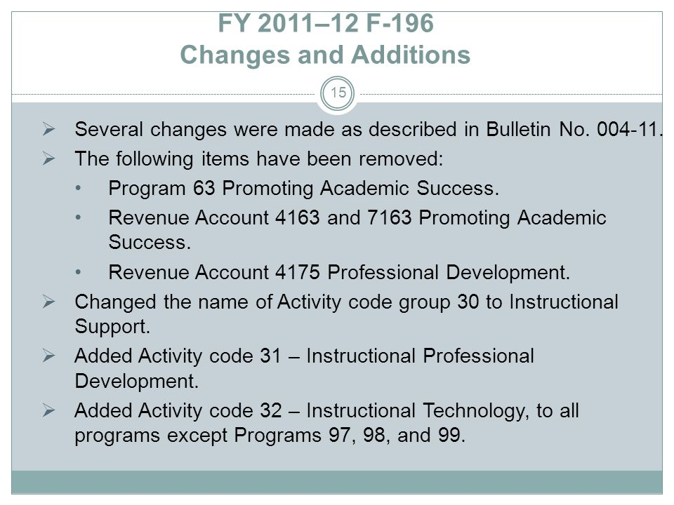 FY 2011–12 F-196 Changes and Additions Several changes were made as described in Bulletin No.