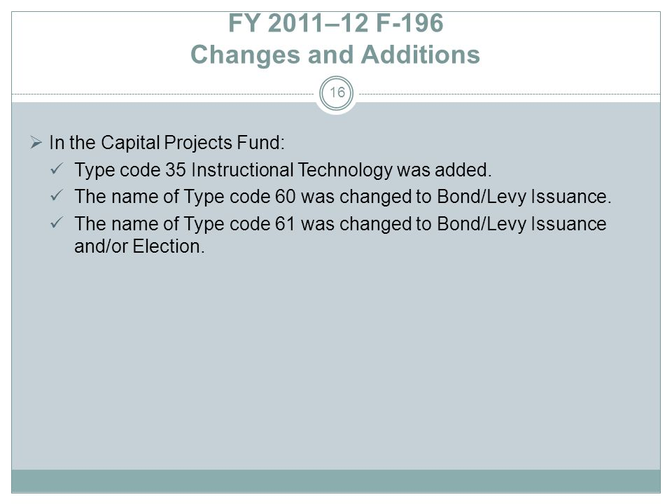 FY 2011–12 F-196 Changes and Additions In the Capital Projects Fund: Type code 35 Instructional Technology was added.