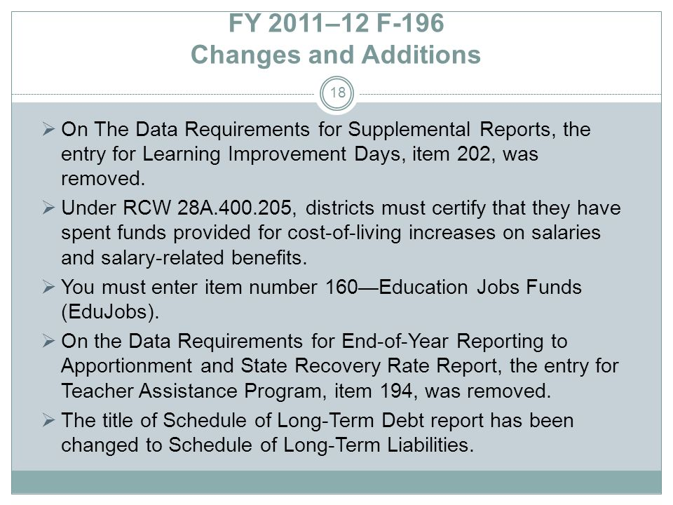 FY 2011–12 F-196 Changes and Additions On The Data Requirements for Supplemental Reports, the entry for Learning Improvement Days, item 202, was remov