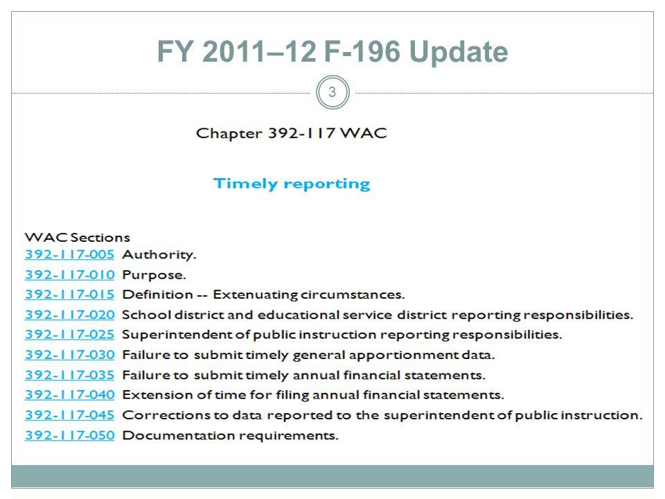 FY 2011–12 F-196 Update 3