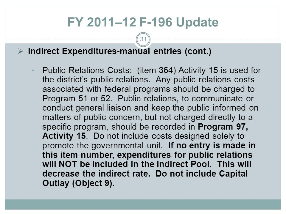 FY 2011–12 F-196 Update Indirect Expenditures-manual entries (cont.) Public Relations Costs: (item 364) Activity 15 is used for the districts public relations.