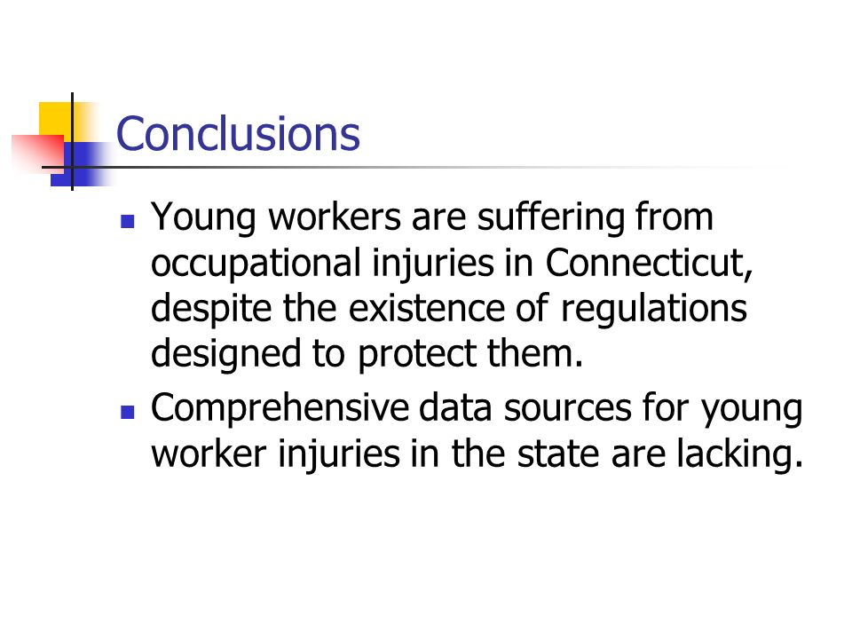 Conclusions Young workers are suffering from occupational injuries in Connecticut, despite the existence of regulations designed to protect them. Comp
