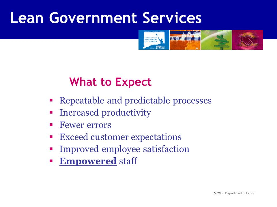 What to Expect §Repeatable and predictable processes §Increased productivity §Fewer errors §Exceed customer expectations §Improved employee satisfaction §Empowered staff © 2005 Department of Labor