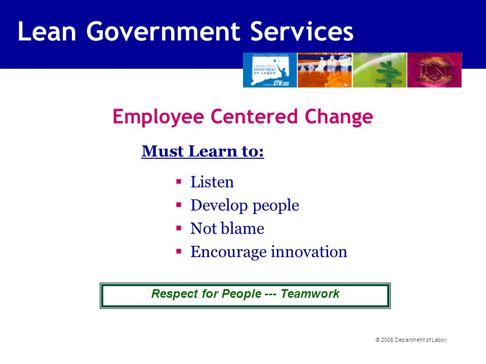 Listen Develop people Not blame Encourage innovation Must Learn to: Employee Centered Change Respect for People --- Teamwork Lean Government Services