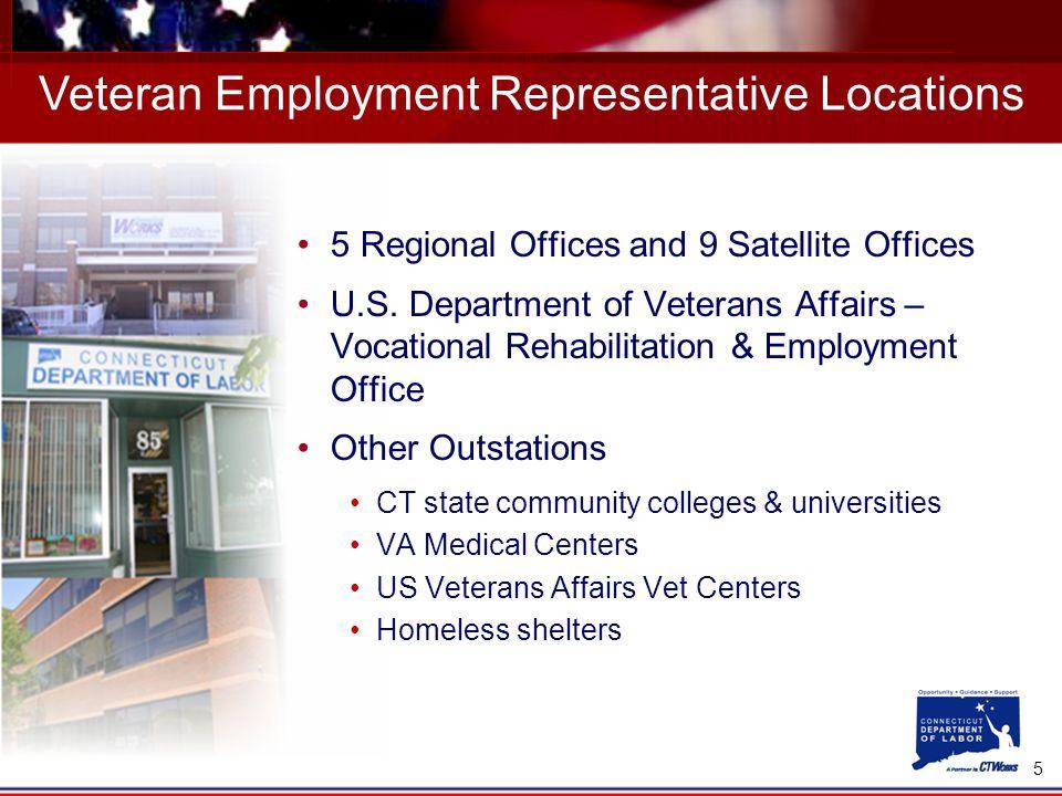 5 Veteran Employment Representative Locations 5 Regional Offices and 9 Satellite Offices U.S. Department of Veterans Affairs – Vocational Rehabilitati