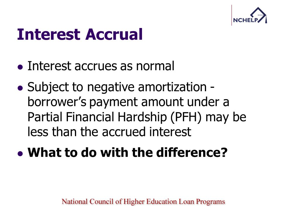Interest accrues as normal Subject to negative amortization - borrowers payment amount under a Partial Financial Hardship (PFH) may be less than the a