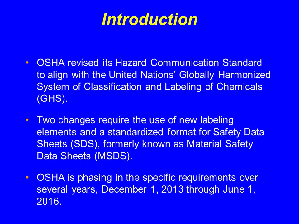 Summary OSHAs Hazard Communication Standard is based on a simple concept - that employees have both a need and a right-to-know about the hazards and identities of the chemicals they are exposed to when at work.