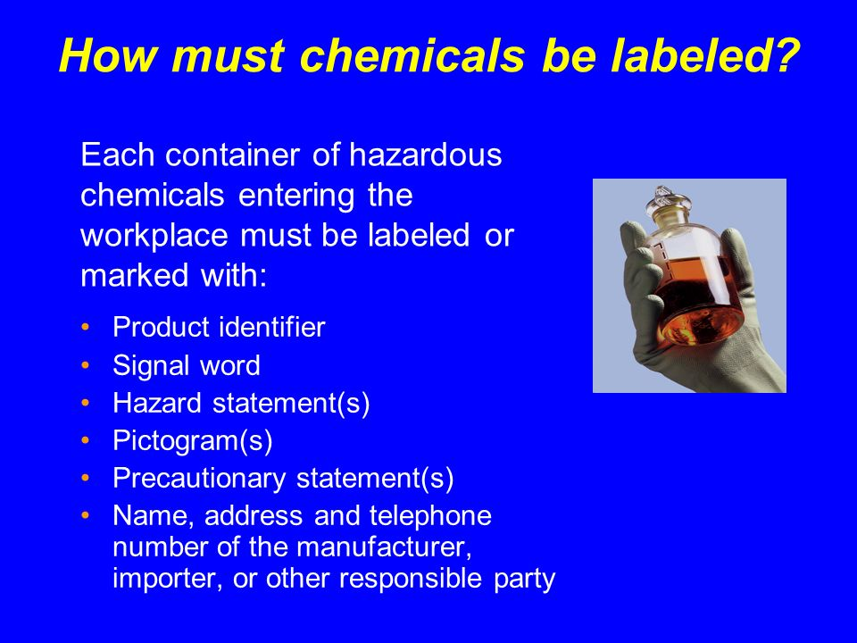 Safety Data Sheets (SDS) Format: 16 Sections (cont.) 9.Physical and chemical properties 10.Stability and reactivity 11.Toxicological information 12.Ecological information 13.Disposal information 14.Transport information 15.Regulatory information 16.Other information