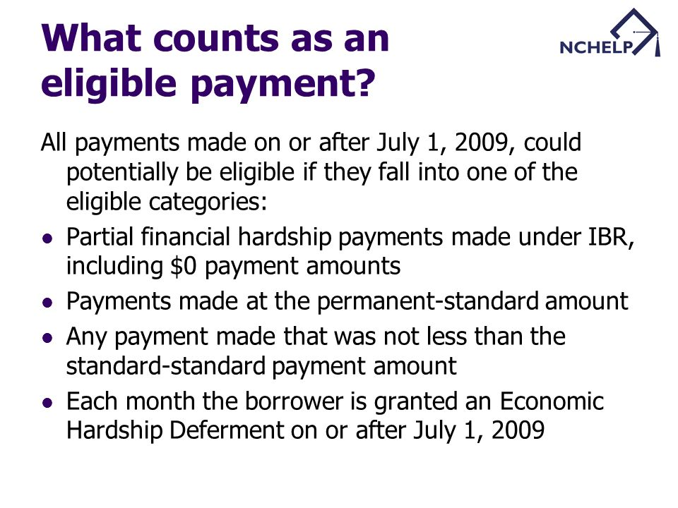 What counts as an eligible payment.