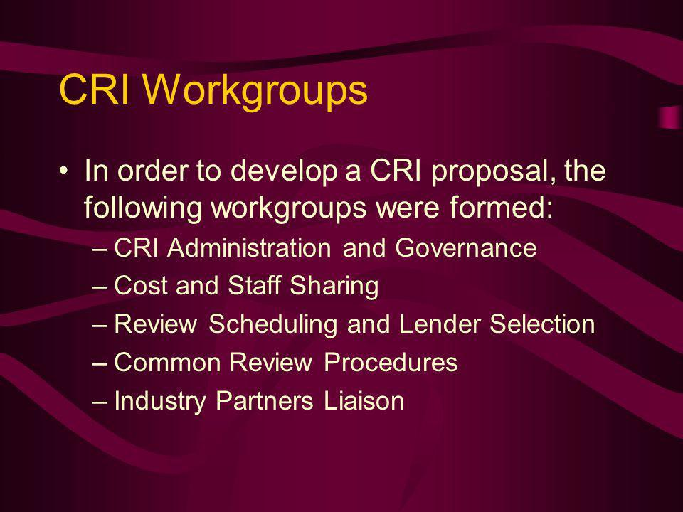 CRI Workgroups In order to develop a CRI proposal, the following workgroups were formed: –CRI Administration and Governance –Cost and Staff Sharing –Review Scheduling and Lender Selection –Common Review Procedures –Industry Partners Liaison