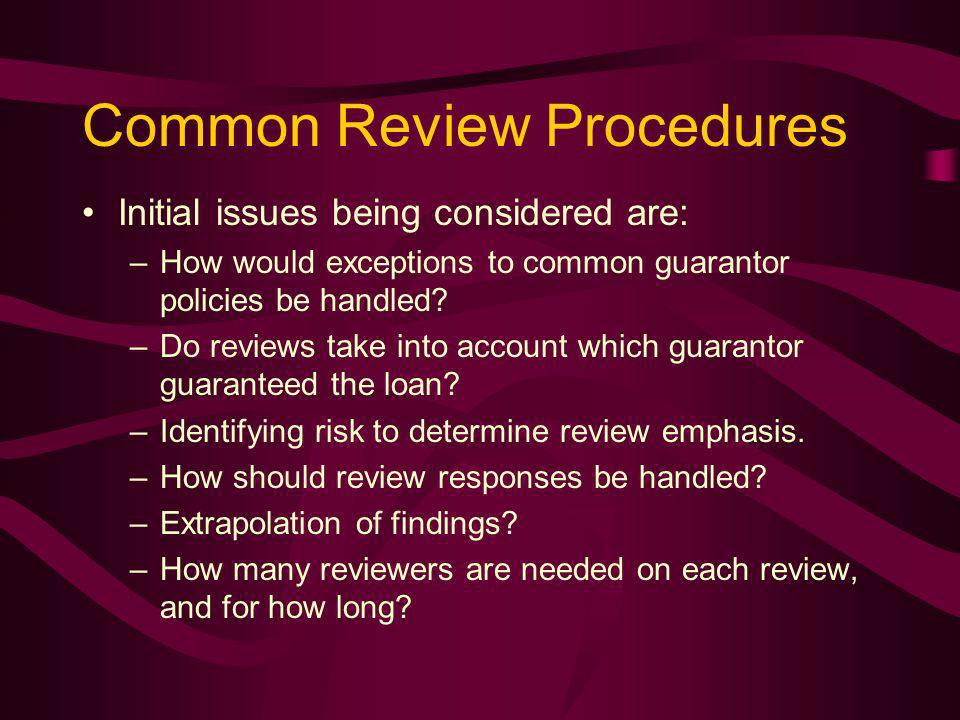 Common Review Procedures Initial issues being considered are: –How would exceptions to common guarantor policies be handled.