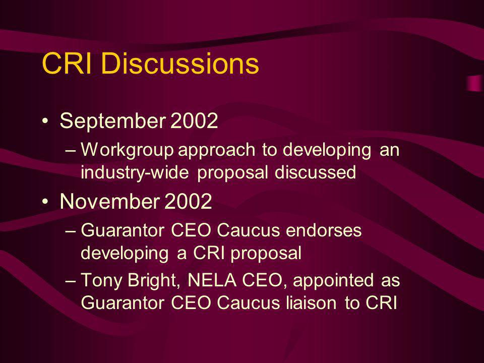 CRI Discussions September 2002 –Workgroup approach to developing an industry-wide proposal discussed November 2002 –Guarantor CEO Caucus endorses developing a CRI proposal –Tony Bright, NELA CEO, appointed as Guarantor CEO Caucus liaison to CRI