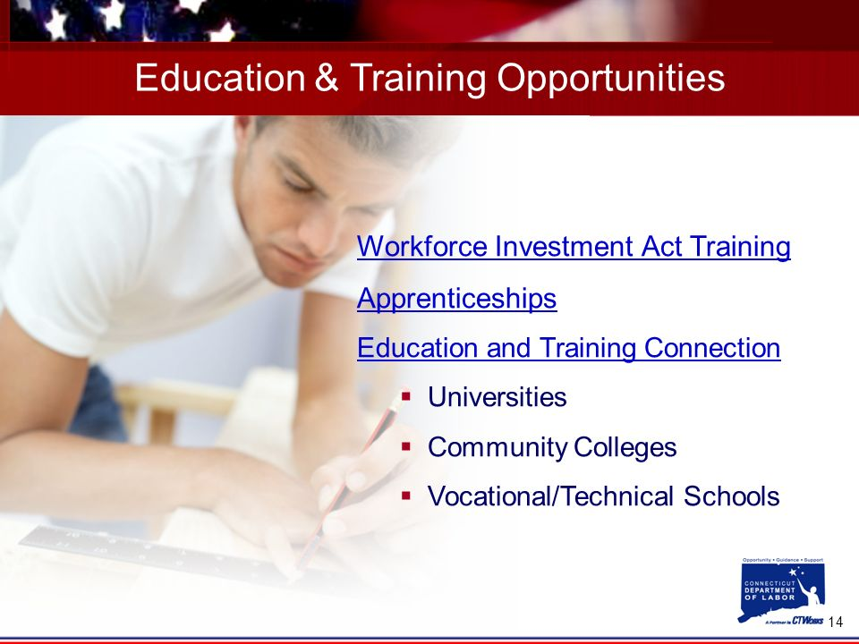 14 Education & Training Opportunities Workforce Investment Act Training Apprenticeships Education and Training Connection Universities Community Colleges Vocational/Technical Schools