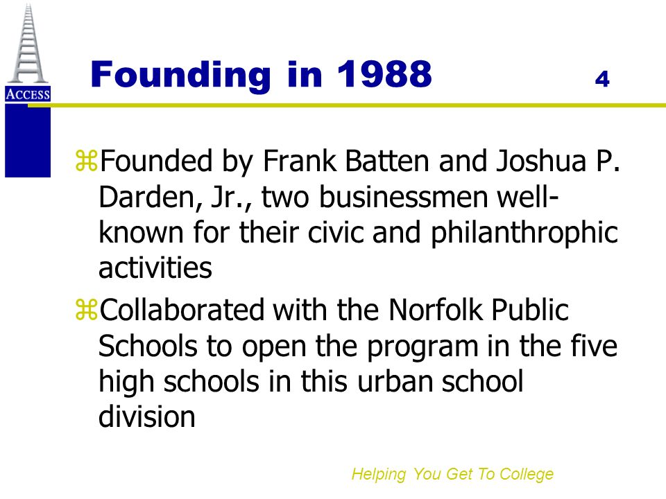 Helping You Get To College Founding in 1988 4 zFounded by Frank Batten and Joshua P.