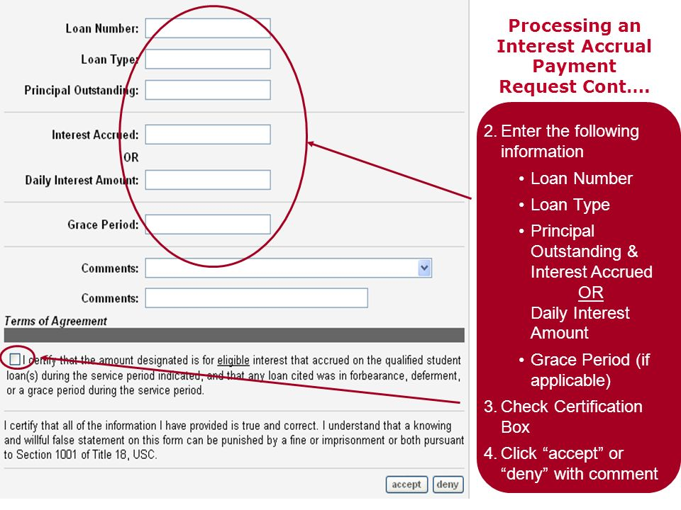 Processing an Interest Accrual Payment Request Cont…. 2.Enter the following information Loan Number Loan Type Principal Outstanding & Interest Accrued