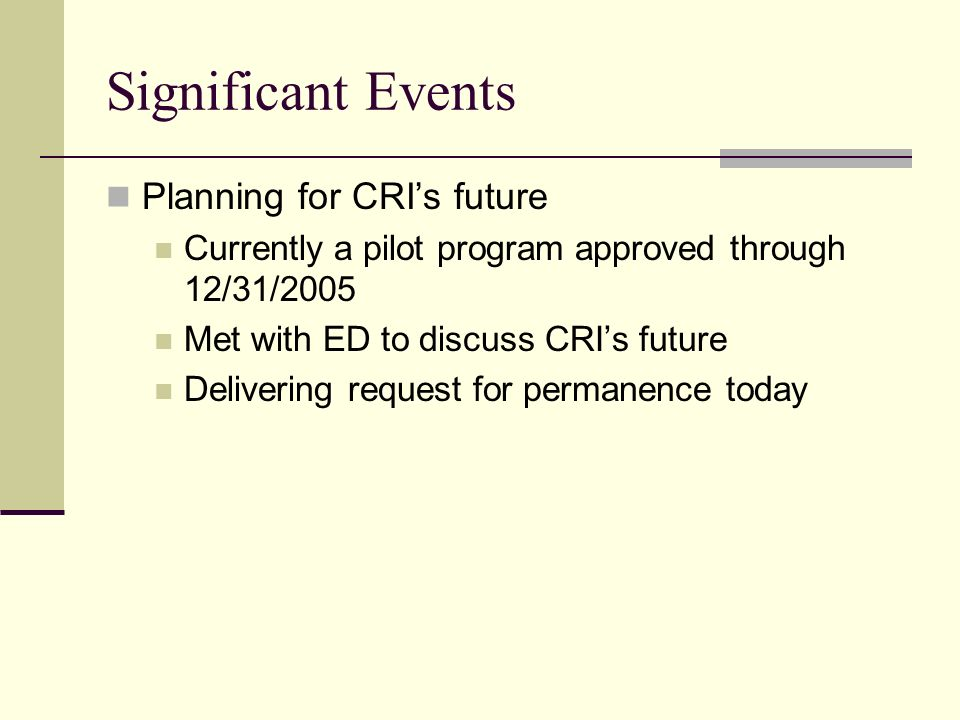 Planning for CRIs future Currently a pilot program approved through 12/31/2005 Met with ED to discuss CRIs future Delivering request for permanence to