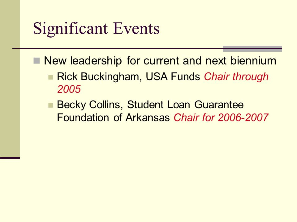 Significant Events New leadership for current and next biennium Rick Buckingham, USA Funds Chair through 2005 Becky Collins, Student Loan Guarantee Fo