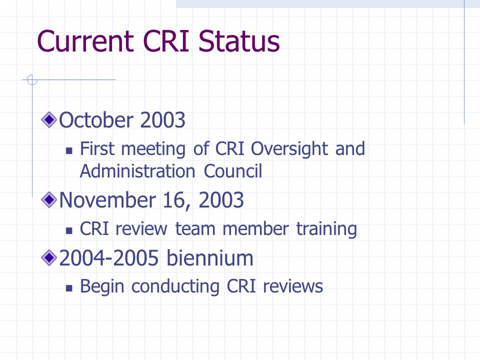 Current CRI Status October 2003 First meeting of CRI Oversight and Administration Council November 16, 2003 CRI review team member training 2004-2005 biennium Begin conducting CRI reviews