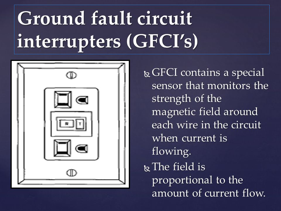 GFCI contains a special sensor that monitors the strength of the magnetic field around each wire in the circuit when current is flowing. GFCI contains