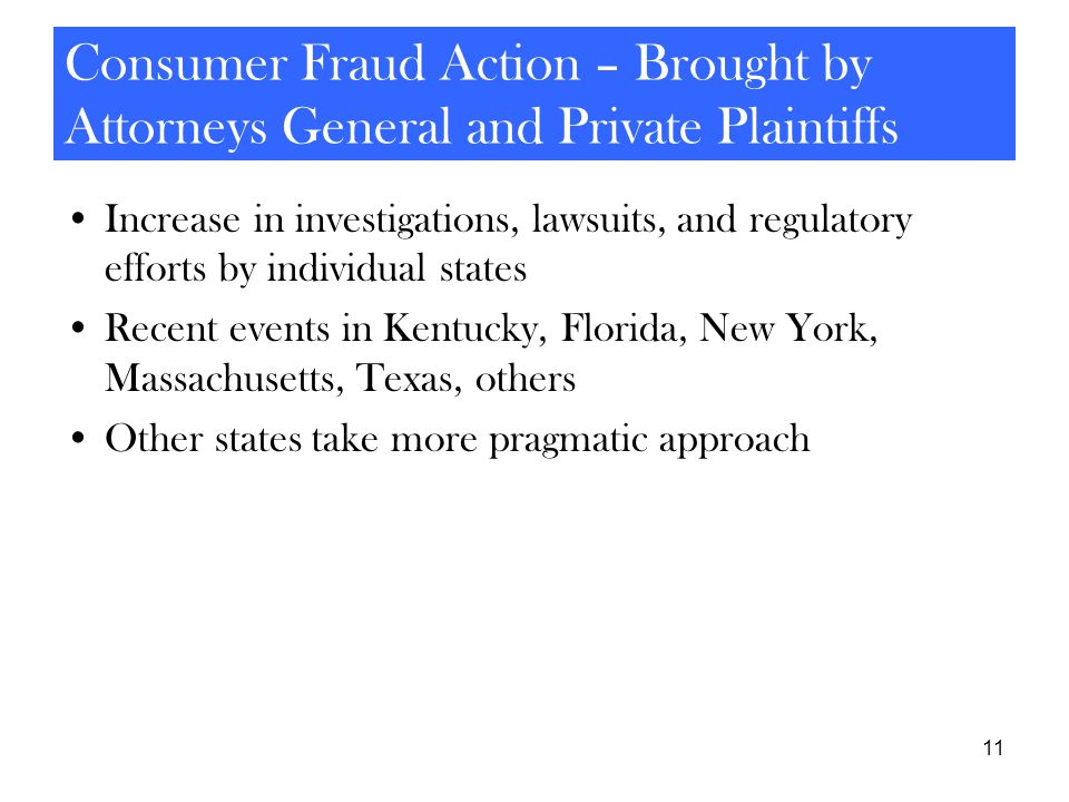 11 Consumer Fraud Action – Brought by Attorneys General and Private Plaintiffs Increase in investigations, lawsuits, and regulatory efforts by individ