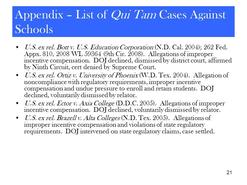 21 Appendix – List of Qui Tam Cases Against Schools U.S. ex rel. Bott v. U.S. Education Corporation (N.D. Cal. 2004); 262 Fed. Appx. 810, 2008 WL 5936