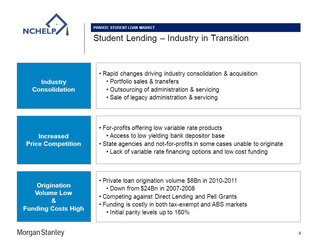 Student Lending – Industry in Transition 4 Industry Consolidation Rapid changes driving industry consolidation & acquisition Portfolio sales & transfers Outsourcing of administration & servicing Sale of legacy administration & servicing For-profits offering low variable rate products Access to low yielding bank depositor base State agencies and not-for-profits in some cases unable to originate Lack of variable rate financing options and low cost funding Increased Price Competition Private loan origination volume $8Bn in 2010-2011 Down from $24Bn in 2007-2008 Competing against Direct Lending and Pell Grants Funding is costly in both tax-exempt and ABS markets Initial parity levels up to 160% Origination Volume Low & Funding Costs High PRIVATE STUDENT LOAN MARKET