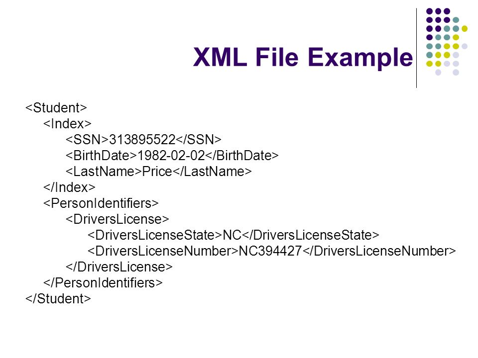 XML File Example 313895522 1982-02-02 Price NC NC394427