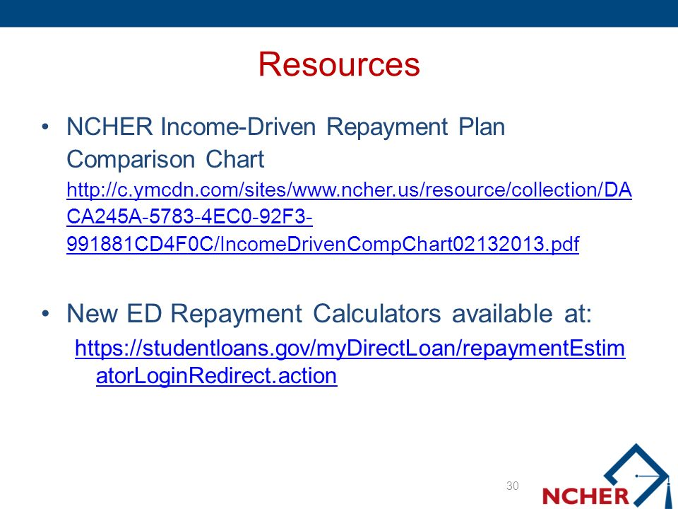 Resources NCHER Income-Driven Repayment Plan Comparison Chart http://c.ymcdn.com/sites/www.ncher.us/resource/collection/DA CA245A-5783-4EC0-92F3- 991881CD4F0C/IncomeDrivenCompChart02132013.pdf http://c.ymcdn.com/sites/www.ncher.us/resource/collection/DA CA245A-5783-4EC0-92F3- 991881CD4F0C/IncomeDrivenCompChart02132013.pdf New ED Repayment Calculators available at: https://studentloans.gov/myDirectLoan/repaymentEstim atorLoginRedirect.action 30