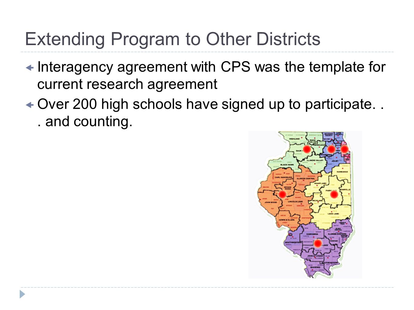 Extending Program to Other Districts Interagency agreement with CPS was the template for current research agreement Over 200 high schools have signed