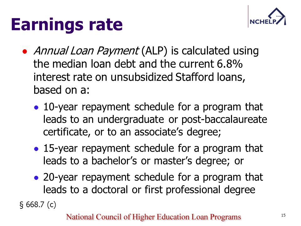 Earnings rate Annual Loan Payment (ALP) is calculated using the median loan debt and the current 6.8% interest rate on unsubsidized Stafford loans, ba