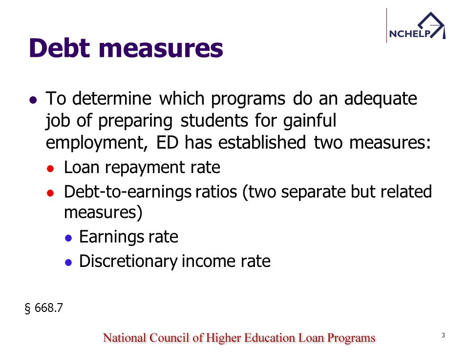 If a schools program fails to meet the minimum standards for all of the debt measures, the school must provide certain information to current and prospective students for the program in a debt warning notice: First-year warning Second-year warning § 668.7 (i) 34