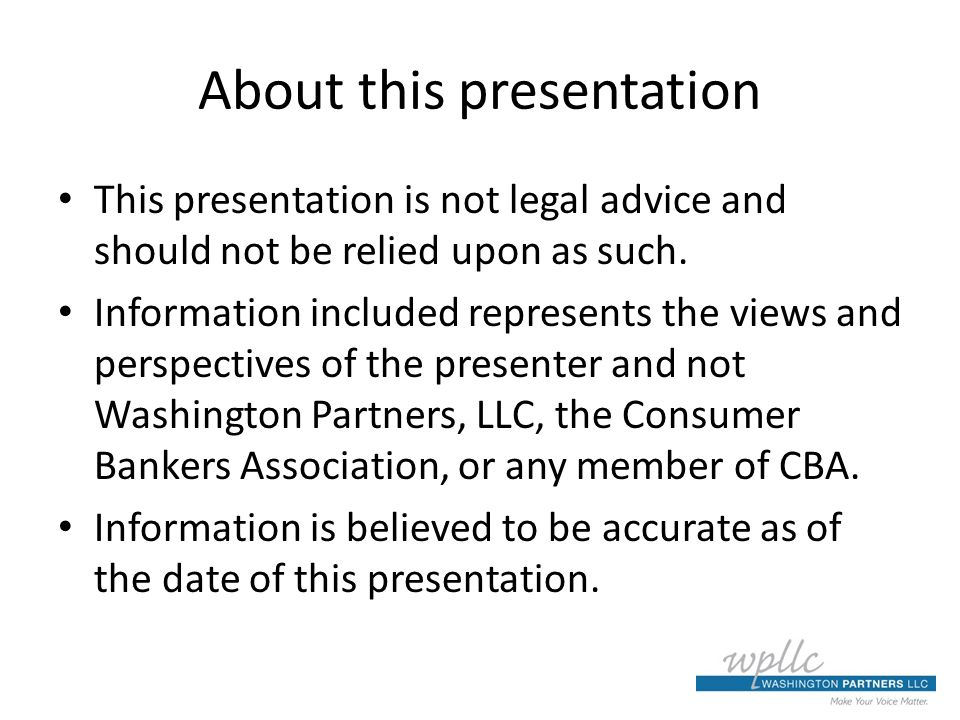 About this presentation This presentation is not legal advice and should not be relied upon as such.
