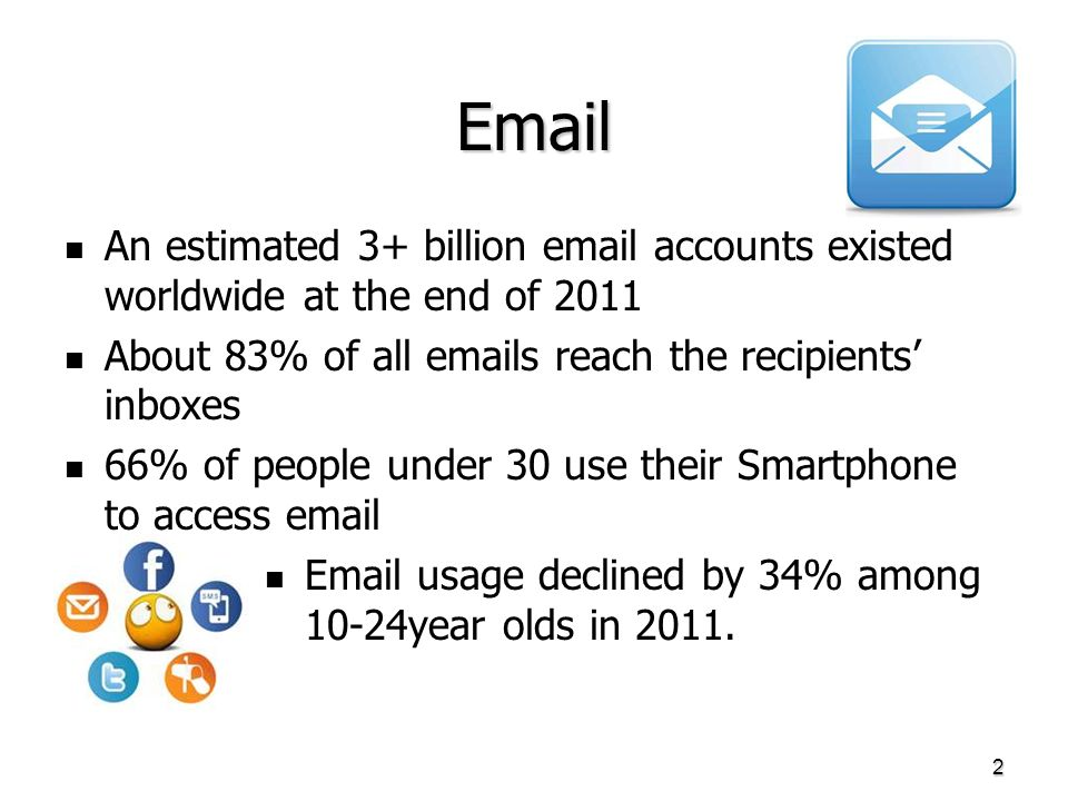 Email An estimated 3+ billion email accounts existed worldwide at the end of 2011 About 83% of all emails reach the recipients inboxes 66% of people u