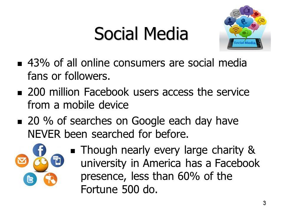 Social Media 43% of all online consumers are social media fans or followers.