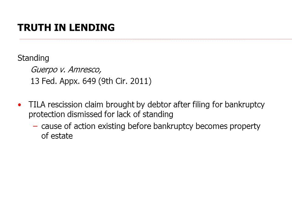 TRUTH IN LENDING Standing Guerpo v.Amresco, 13 Fed.