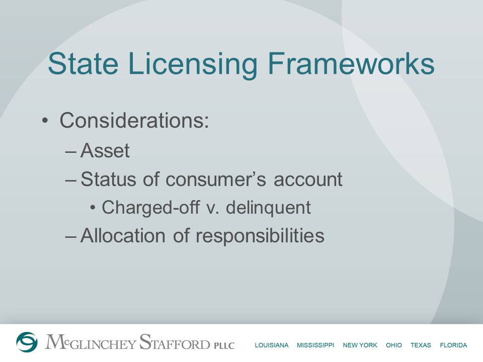 State Licensing Frameworks Considerations: –Asset –Status of consumers account Charged-off v. delinquent –Allocation of responsibilities