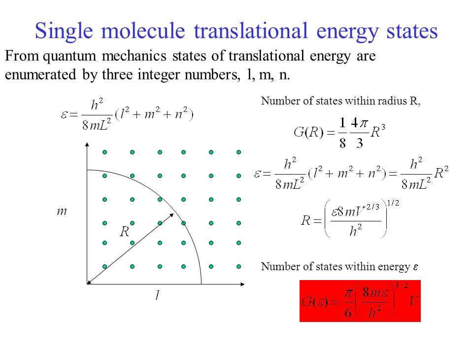 Single molecule translational energy states From quantum mechanics states of translational energy are enumerated by three integer numbers, l, m, n.
