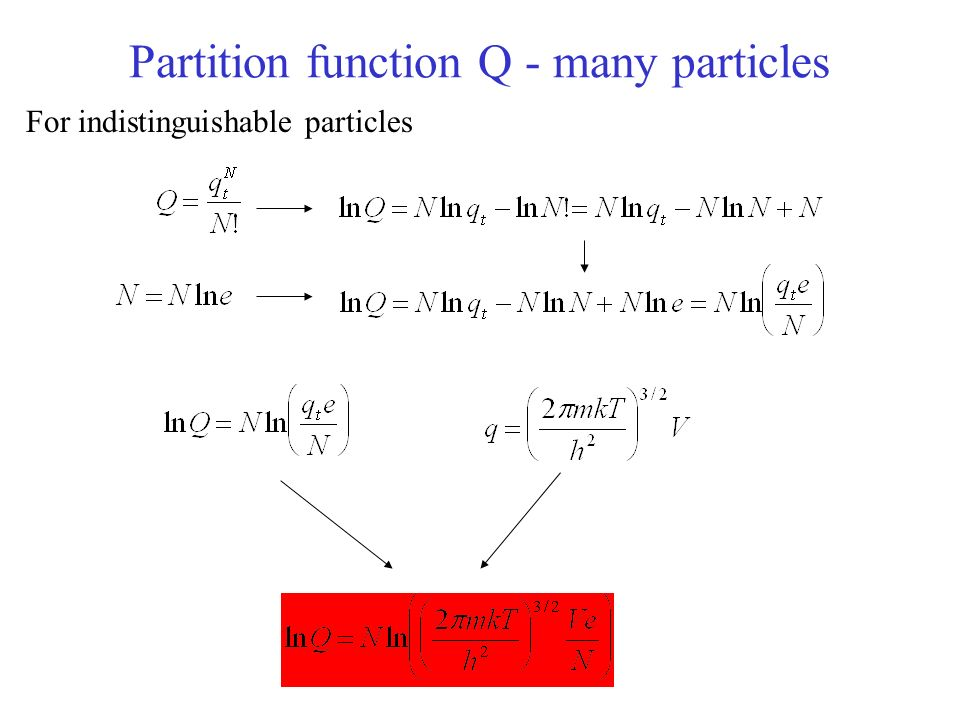 Partition function Q - many particles For indistinguishable particles