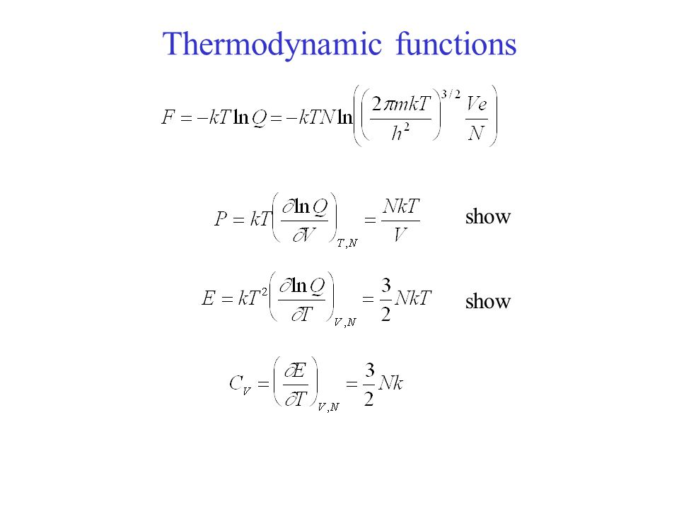 Thermodynamic functions show