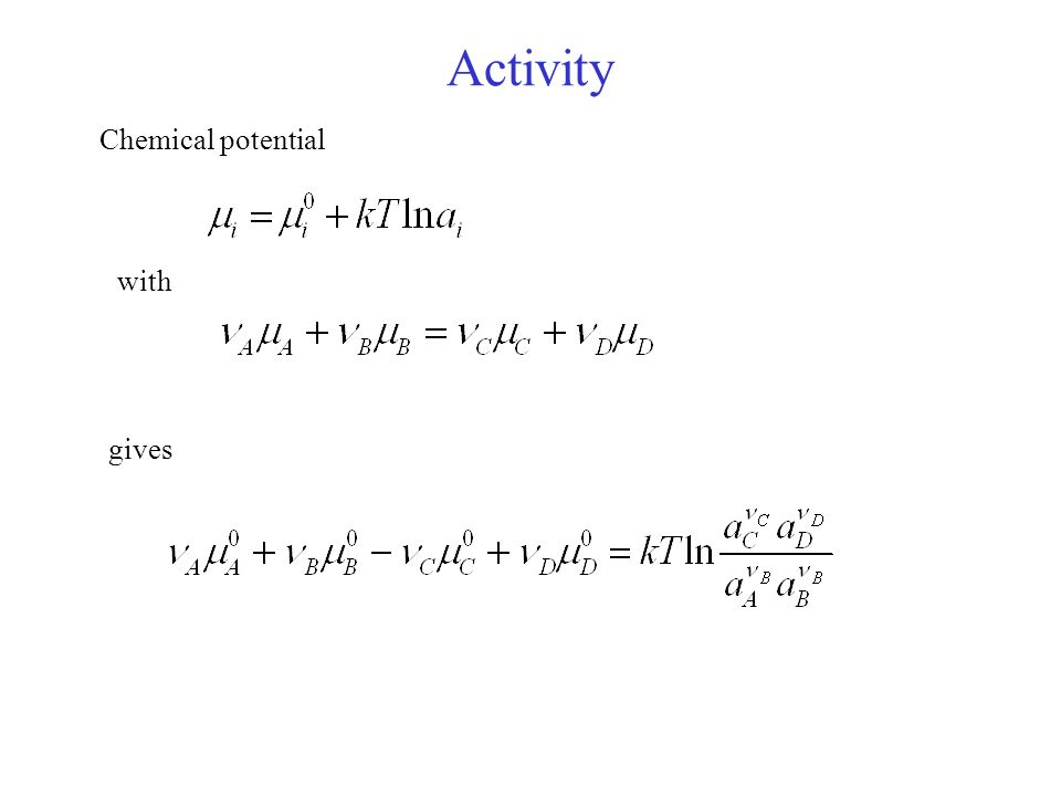 Activity Chemical potential with gives