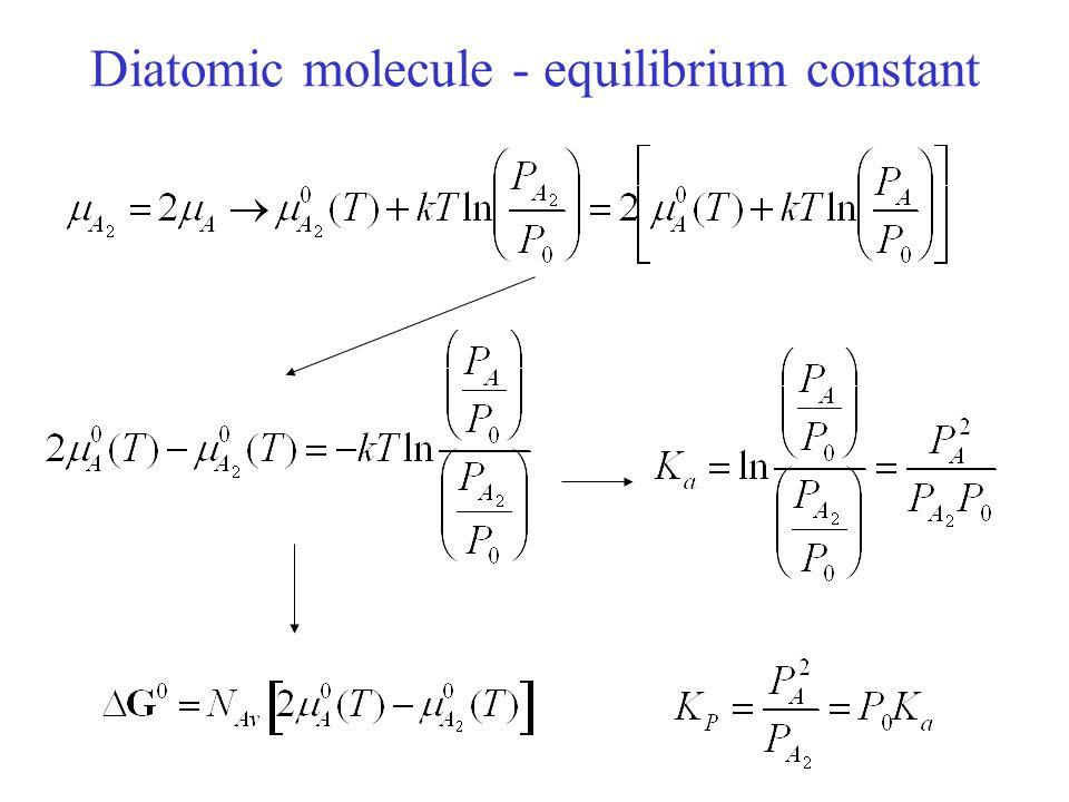 Diatomic molecule - equilibrium constant