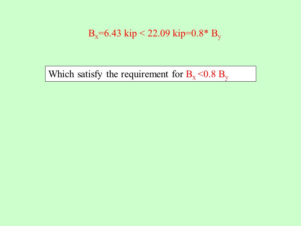 B x =6.43 kip < 22.09 kip=0.8* B y Which satisfy the requirement for B x <0.8 B y