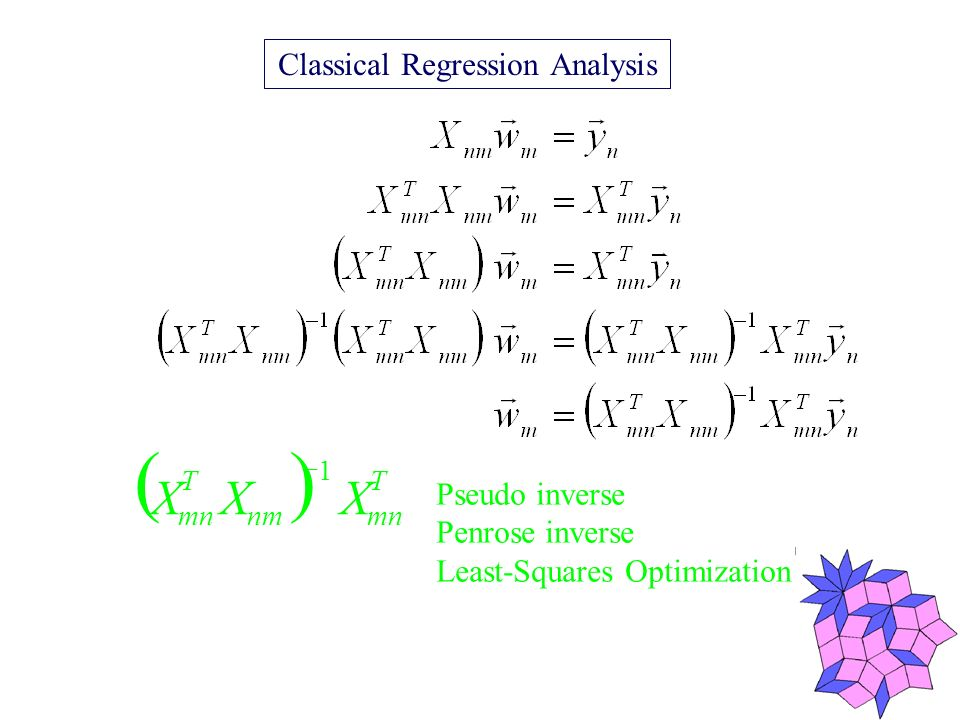 Pseudo inverse Penrose inverse Least-Squares Optimization Classical Regression Analysis 1 T mnnm T mn XXX