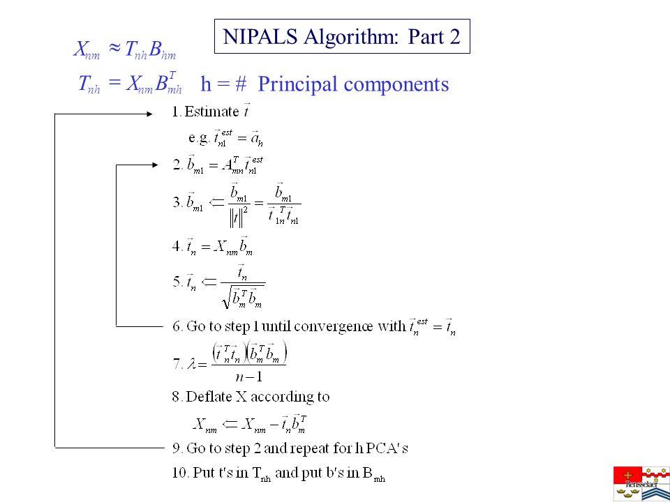 NIPALS Algorithm: Part 2 T mhnmnh hmnhnm BXT BTX h = # Principal components