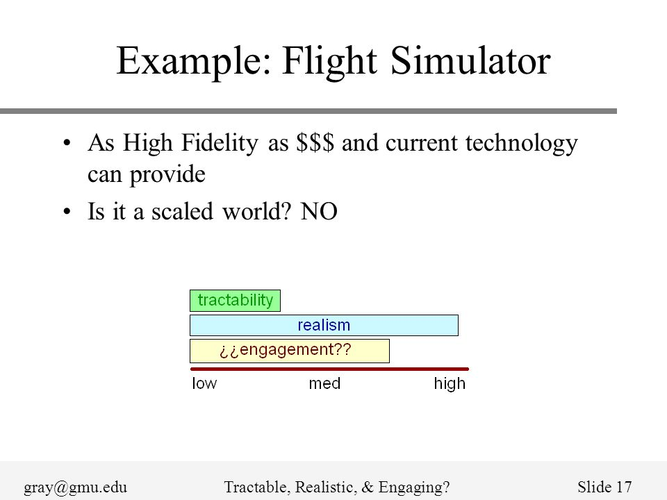 gray@gmu.eduTractable, Realistic, & Engaging Slide 17 Example: Flight Simulator As High Fidelity as $$$ and current technology can provide Is it a scaled world.