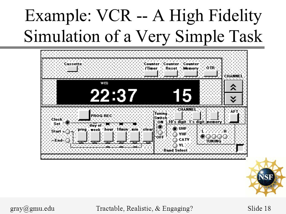 gray@gmu.eduTractable, Realistic, & Engaging?Slide 18 Example: VCR -- A High Fidelity Simulation of a Very Simple Task
