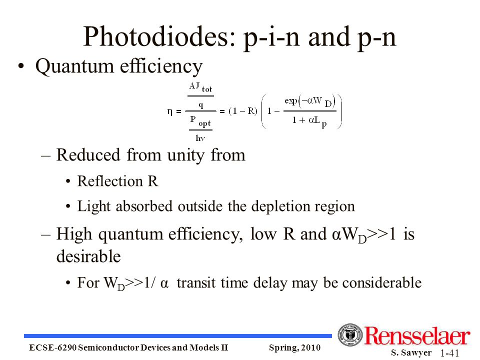 ECSE-6290 Semiconductor Devices and Models II Spring, 2010 S. Sawyer 1-41 Photodiodes: p-i-n and p-n Quantum efficiency –Reduced from unity from Refle