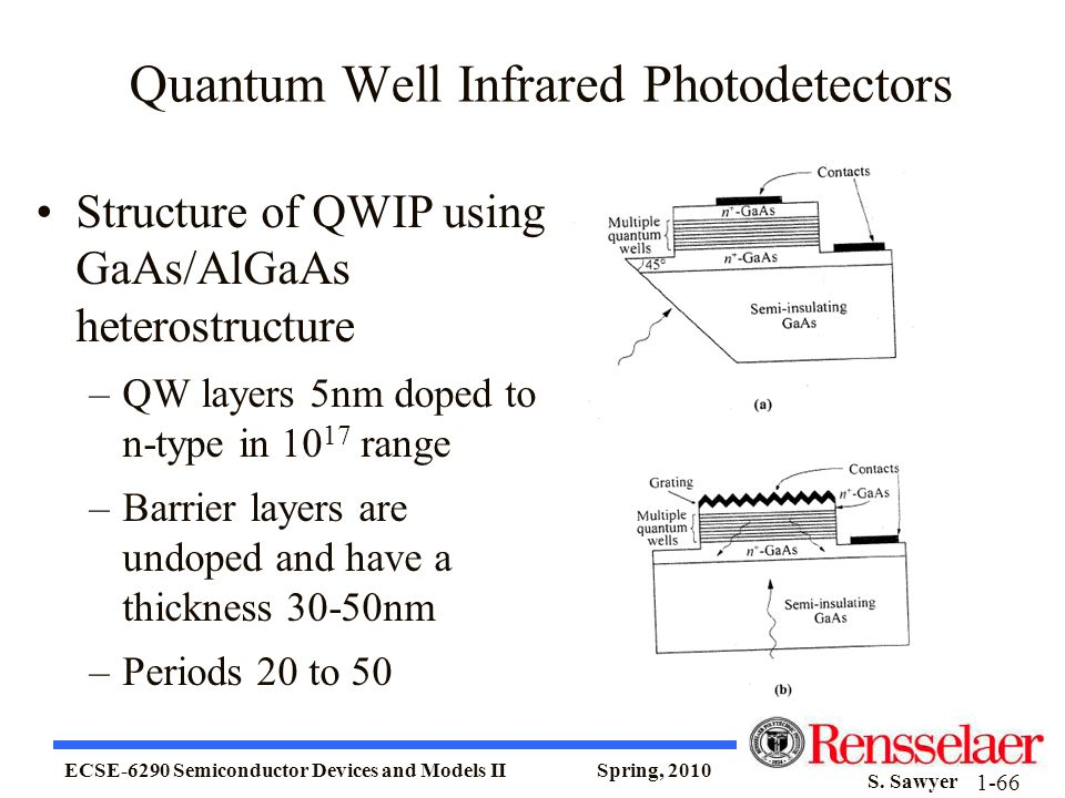ECSE-6290 Semiconductor Devices and Models II Spring, 2010 S. Sawyer 1-66 Quantum Well Infrared Photodetectors Structure of QWIP using GaAs/AlGaAs het