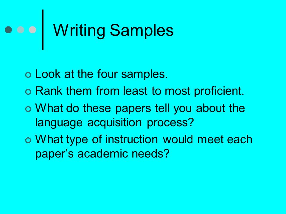 Writing Samples Look at the four samples.Rank them from least to most proficient.