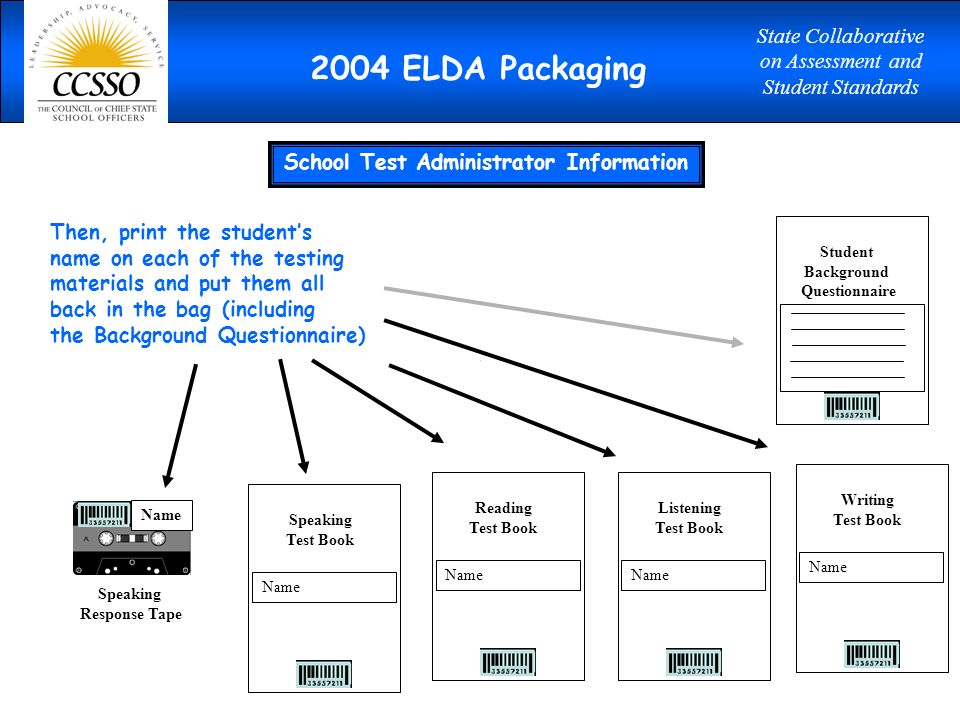 Reading Test Book Name Writing Test Book Name Listening Test Book Name Speaking Test Book Name Speaking Response Tape Then, print the students name on each of the testing materials and put them all back in the bag (including the Background Questionnaire) Name Student Background Questionnaire School Test Administrator Information 2004 ELDA Packaging State Collaborative on Assessment and Student Standards